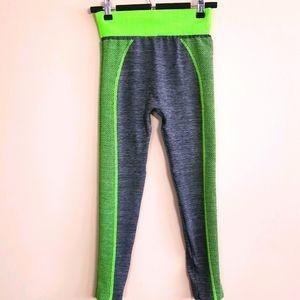 Amazing bright lime/grey stretch racer leggings